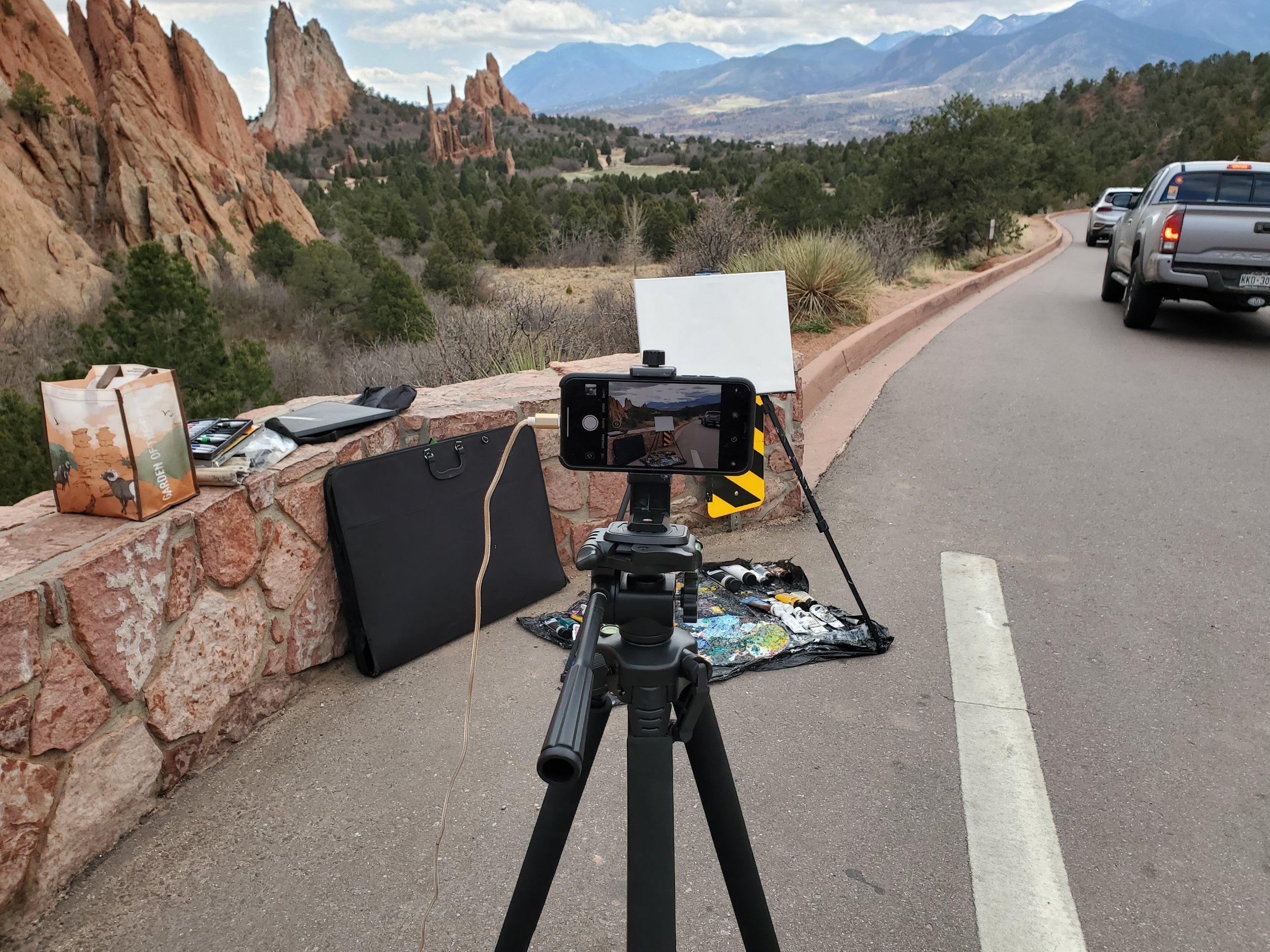 My display art project live painting setup at the view point of Garden of the Gods.