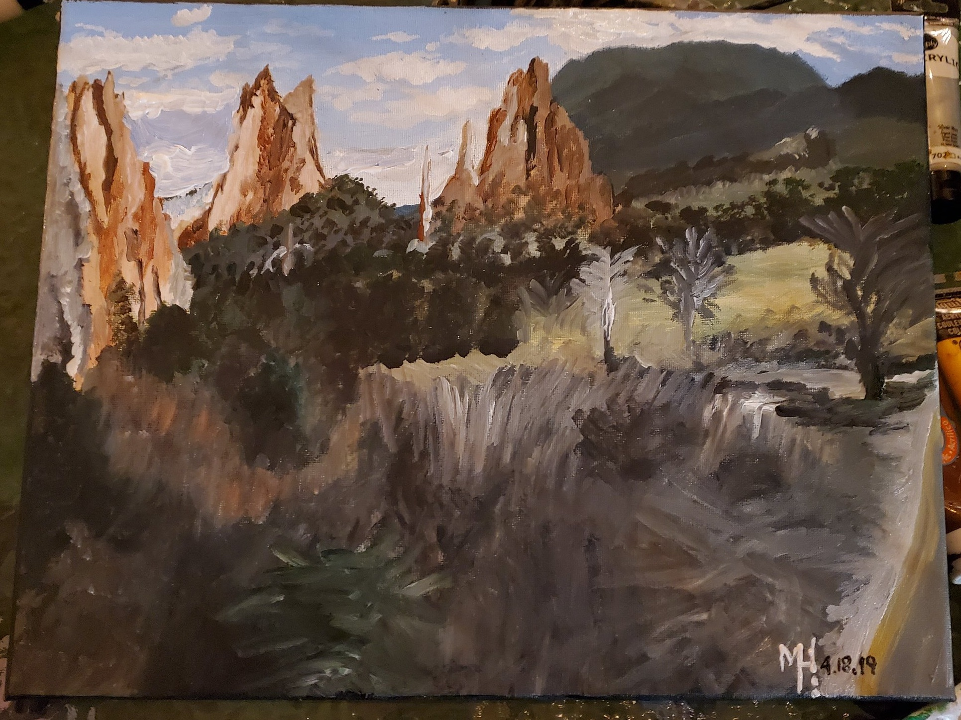 The finished product painting of the Garden of the Gods of the view point mountains.