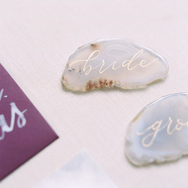 Thinking back to the sweetest little agate place cards this gloomy afternoon.  Calligraphy by: @magpiewrites365 ⠀⠀⠀⠀⠀⠀⠀⠀⠀ Photo by: @elizabethladuca  #foxharebride  #stationerydesigner #weddingstationery #weddinginspiration #risingtidesociety #communityovercompetition #dailydoseofpaper #paperlove #fineartbride #handlettering #moderncalligraphy #texascalligraphy #lettering #pointedpen #calligraphy #penmanship #vintagestamps #envelopes #handmadepaper #centraltxwedding #texasbride #wacotown  #texasweddings #2018bride  #bespokeinvitations  #sayyestothedress  #shesaidyes  #weddingplanning  #justsaidyes ⠀⠀⠀⠀⠀⠀⠀⠀⠀