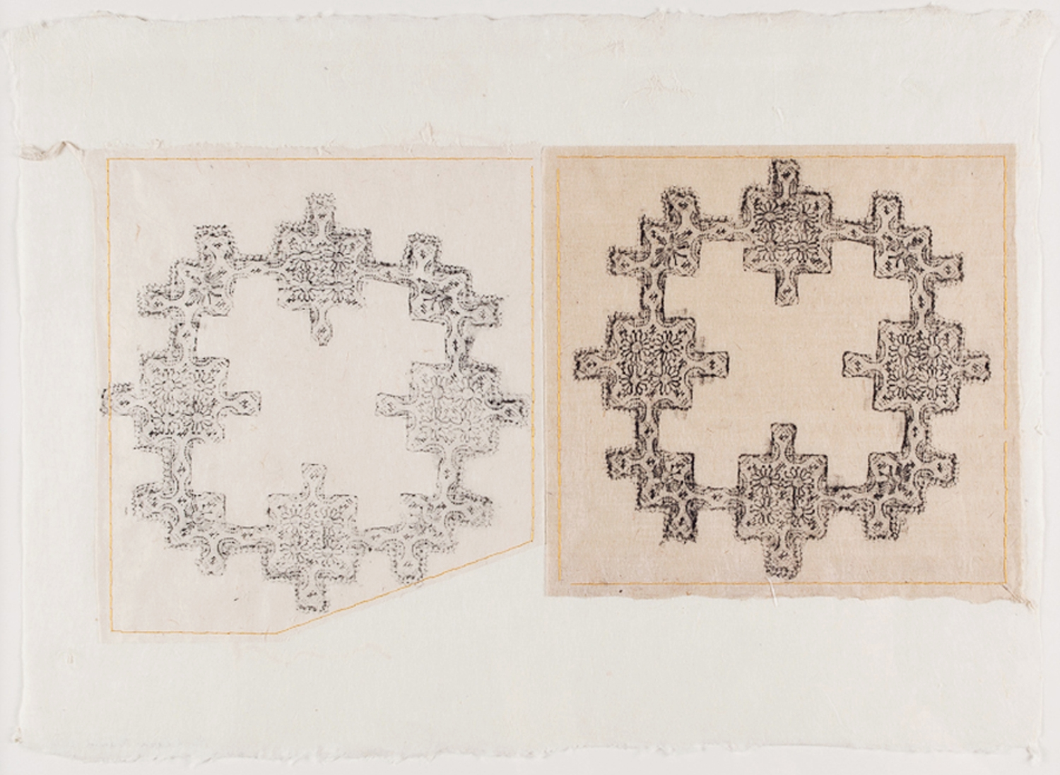 """Two Doilies. 2010. Wax Crayon, Thread & Paper. 11"""" x 18"""""""