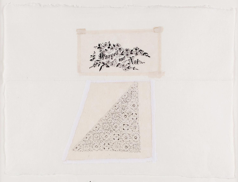 "Forget Me Not. 2010. Paper, Glue, Wax Crayon & Silk Screen. 18"" x 22"""