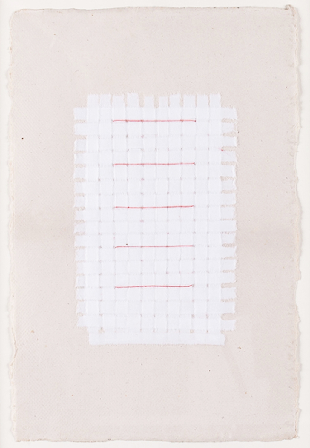 """Paper Weaving with Red Thread. 2008. Paper & Thread. 11"""" x 9"""""""