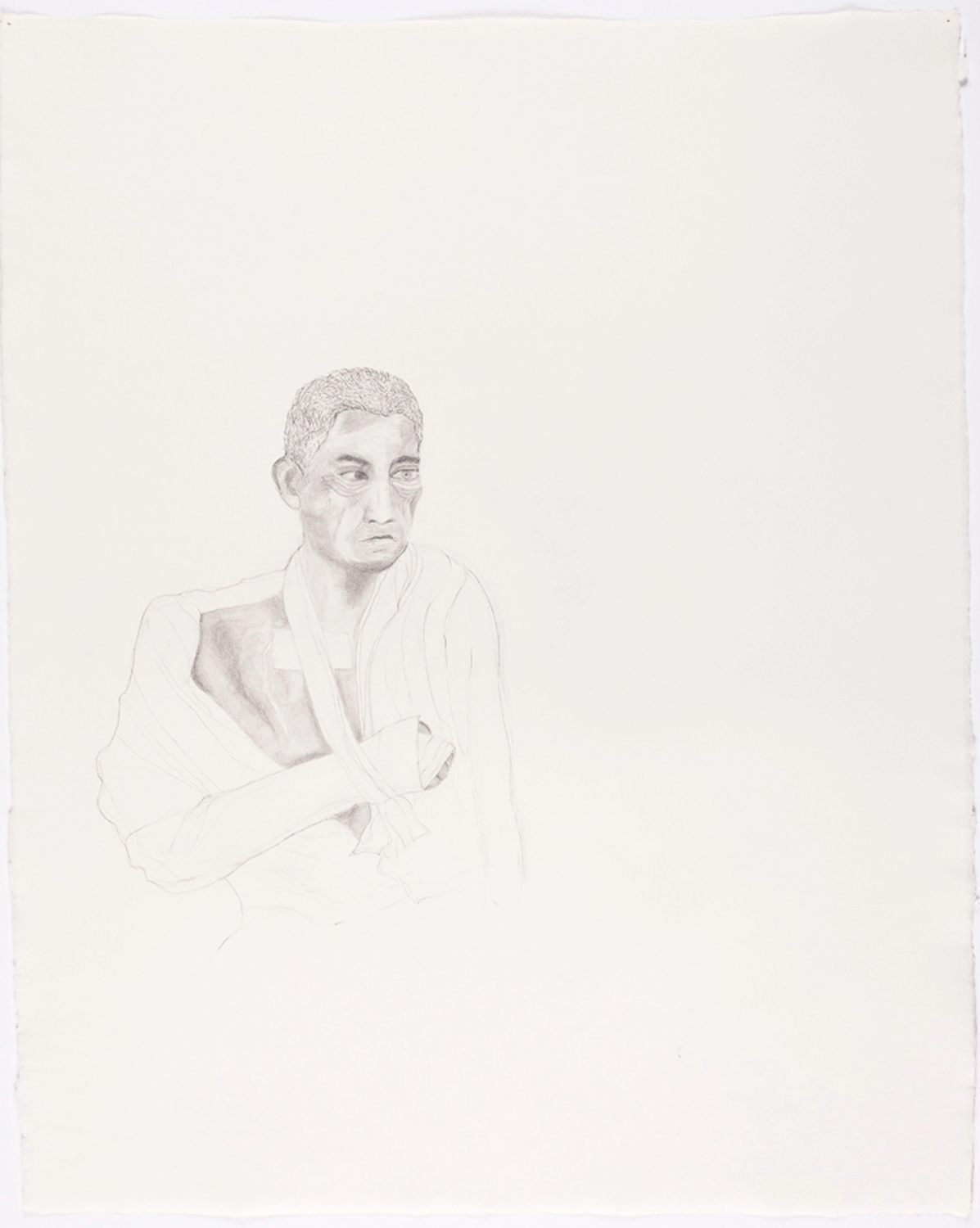 """Bandaged Soldier IV. 2010. Pencil on Paper. 30"""" x 22"""""""