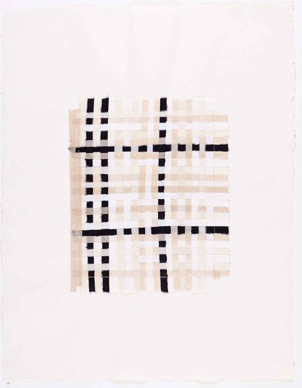 "Black & White Paper Weaving II. 2008. Paper & Glue. 17"" x 13"""