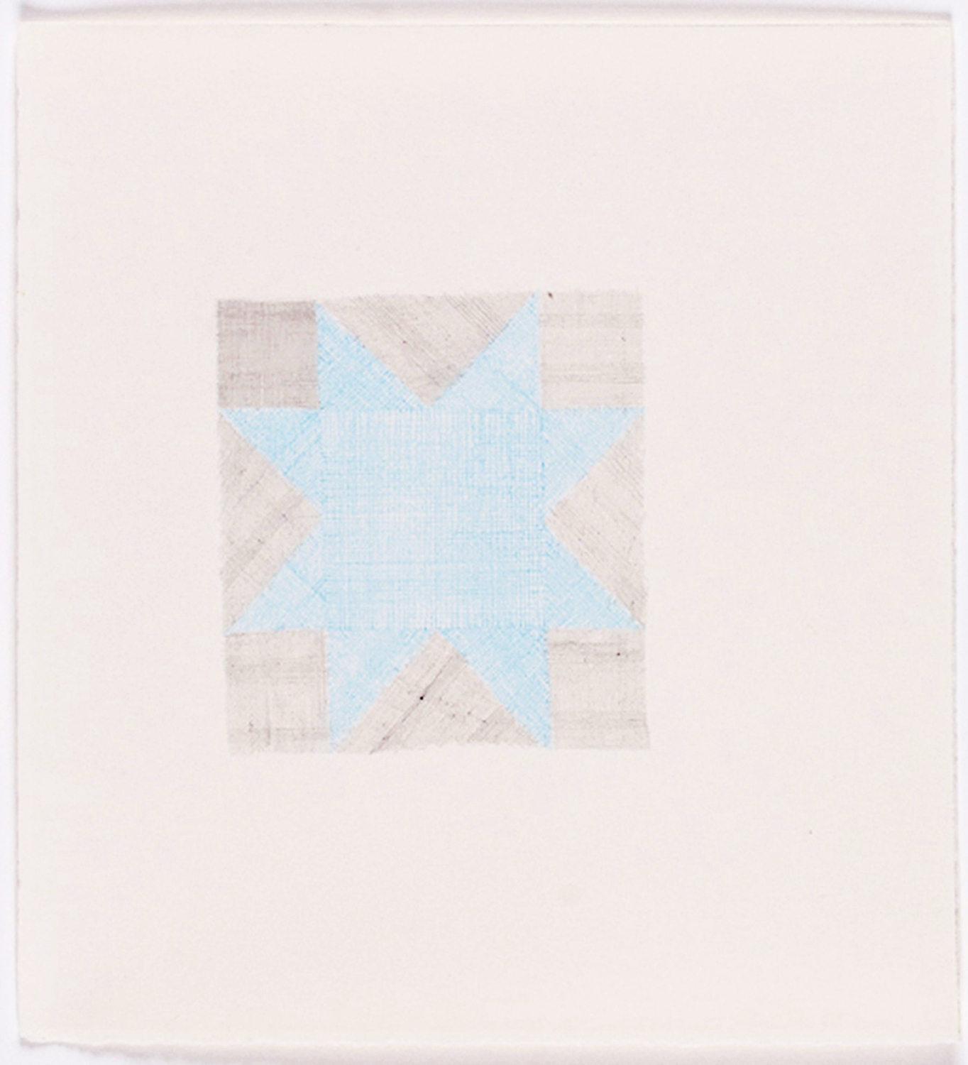 """Quilt Square in Blue. 2009. Color Pencil on Paper. 14"""" x 13"""""""