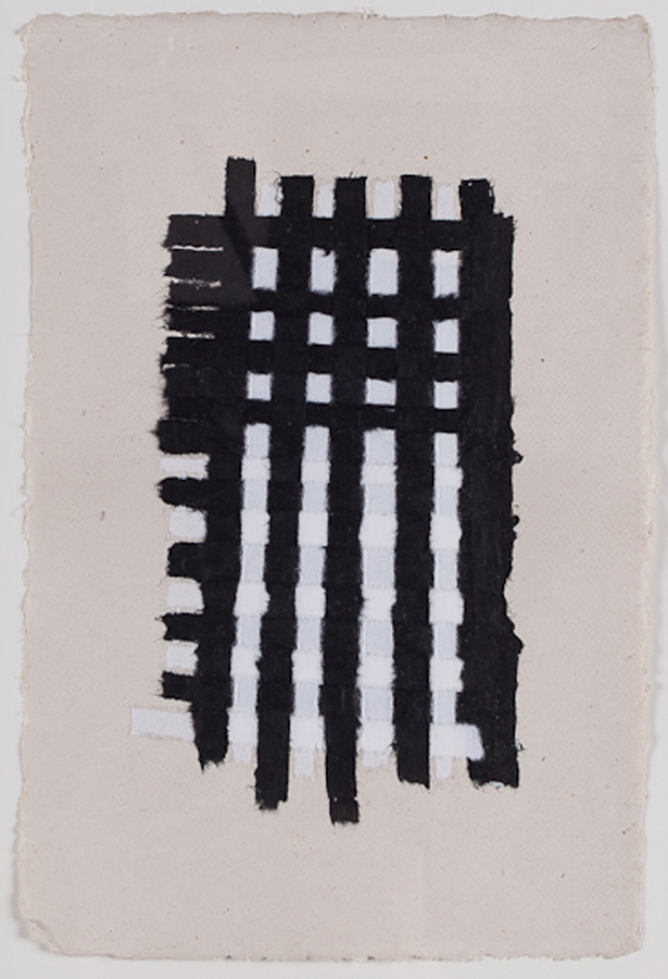 "Black & White Paper Weaving. 2008. Paper & Glue. 11"" x 9"""
