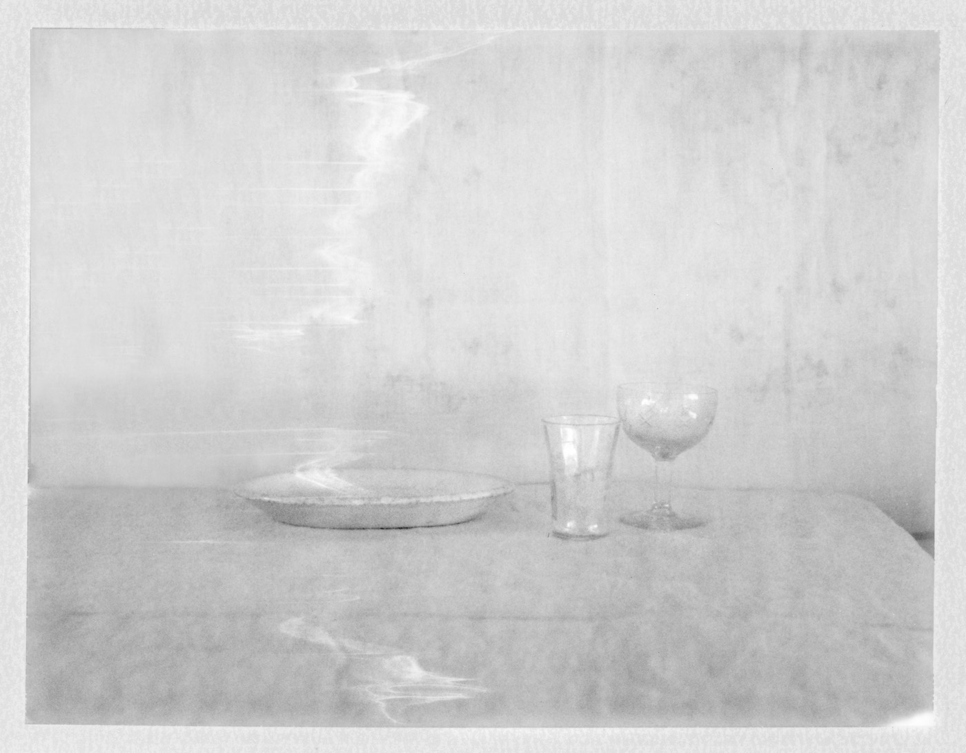 "Plate & Two Glasses. 2018. Archival Pigment Print. 6"" x 8"""