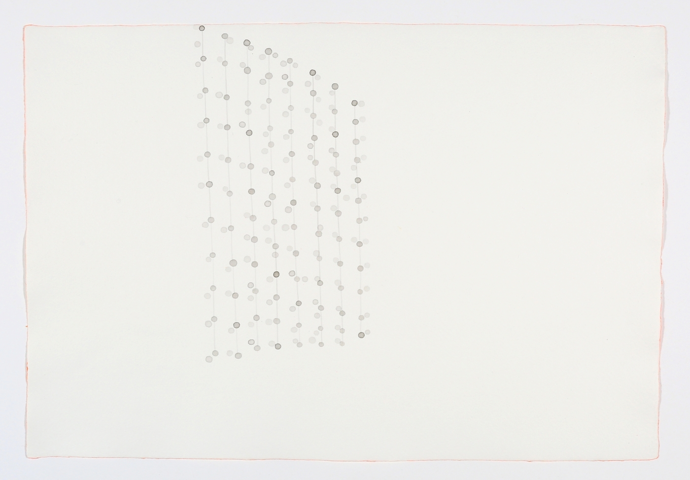 """Beaded Curtain. 2011. Ink on paper. 11"""" x 17"""""""