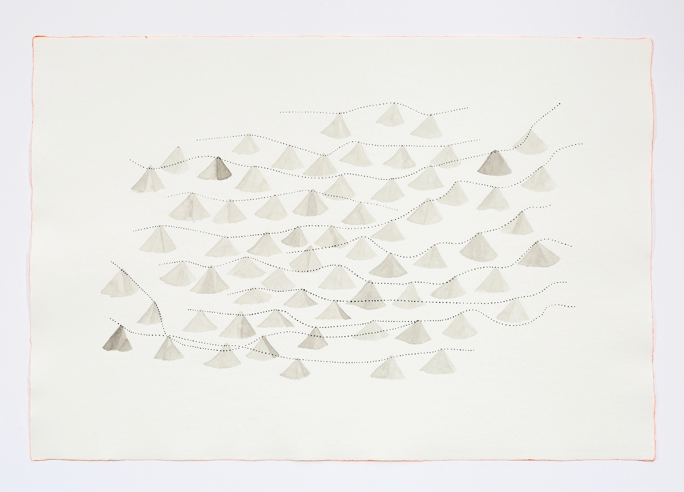"""Ginko Leaves. 2011. Ink on paper. 11"""" x 17"""""""