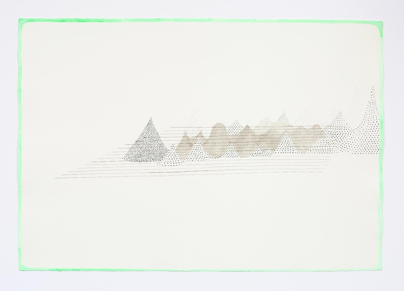 "Mountain Range. 2011. Ink on paper. 11"" x 17"""