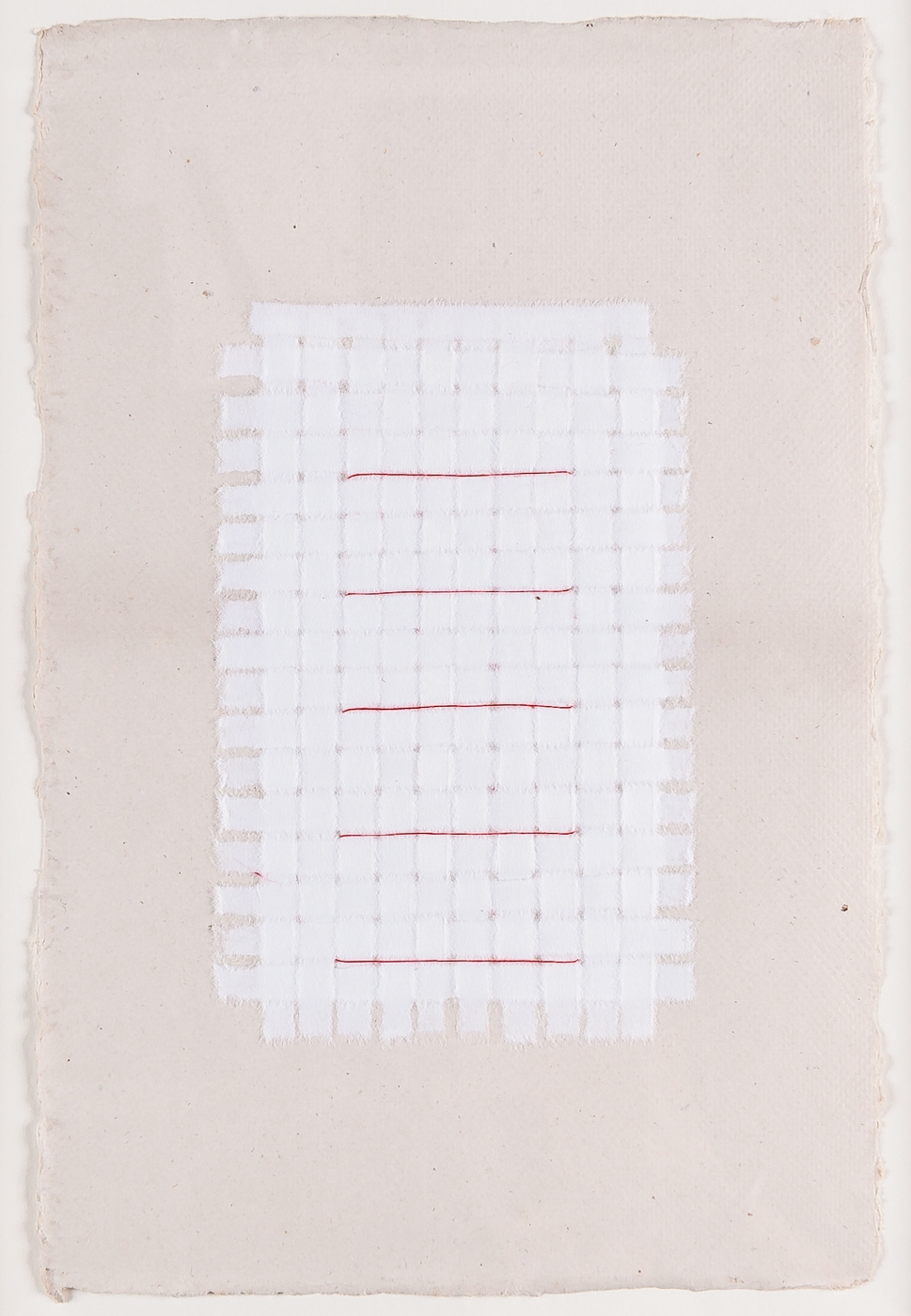 "White Weaving with Red Thread. 2015. Paper and Glue. 13"" x 10"""