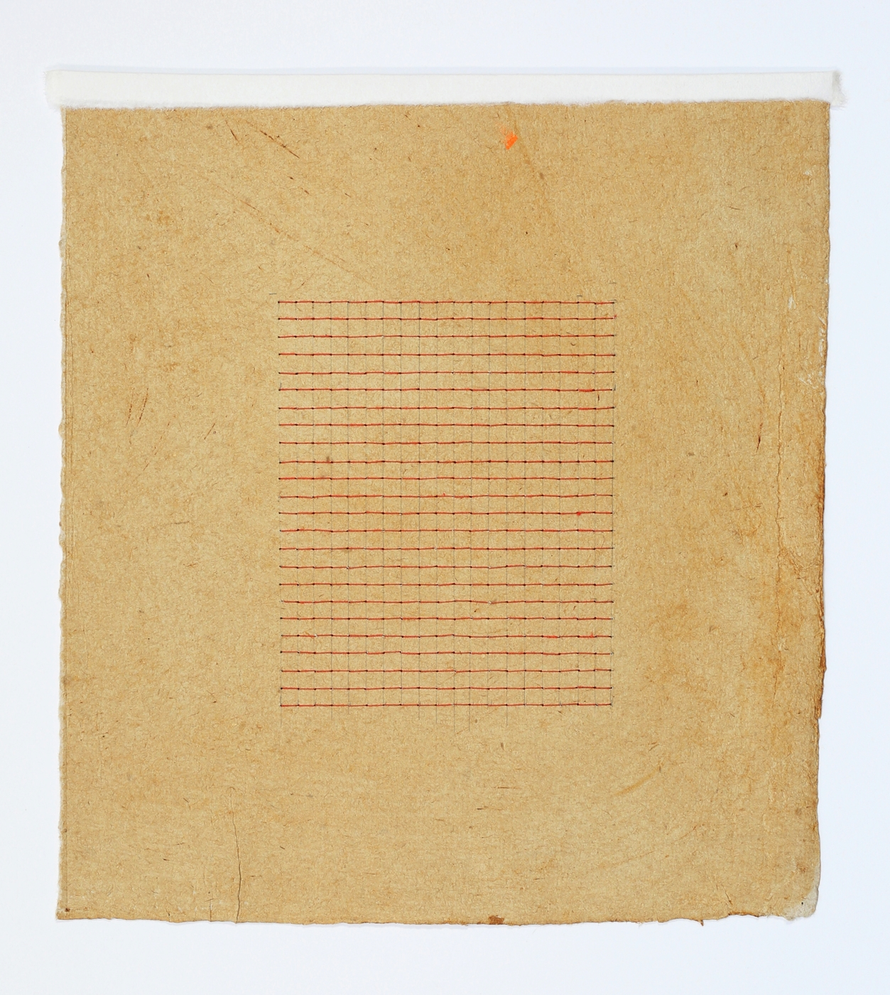 """Red Stitches. 2015. Paper, Glue and Thread. 12"""" x 11.5"""""""