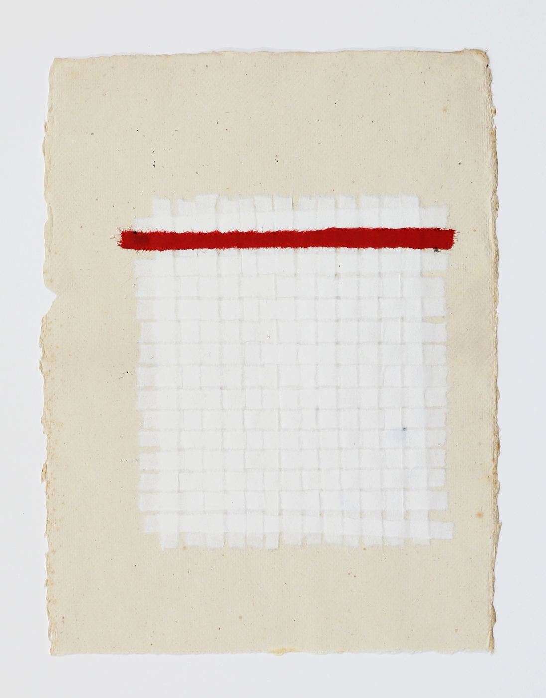 "White Weaving with Red Stripe. 2015. Paper, Glue and Dye. 13"" x 10"""