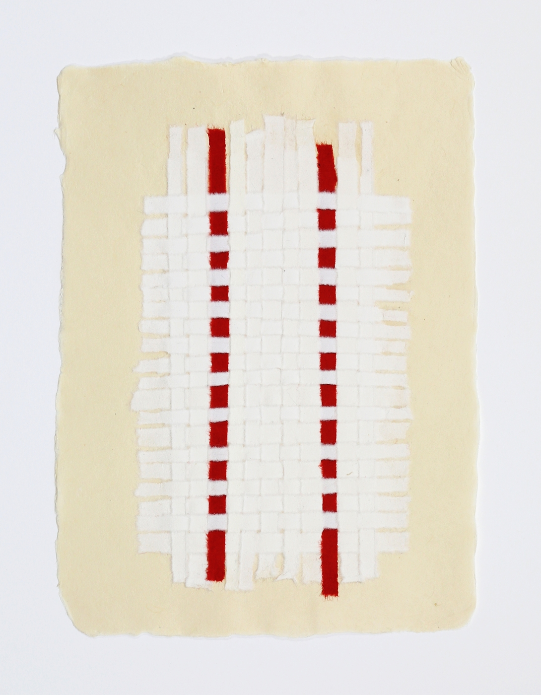 """White Weaving with Two Red Stripes. 2015. Paper, Glue and Dye. 13"""" x 10"""""""
