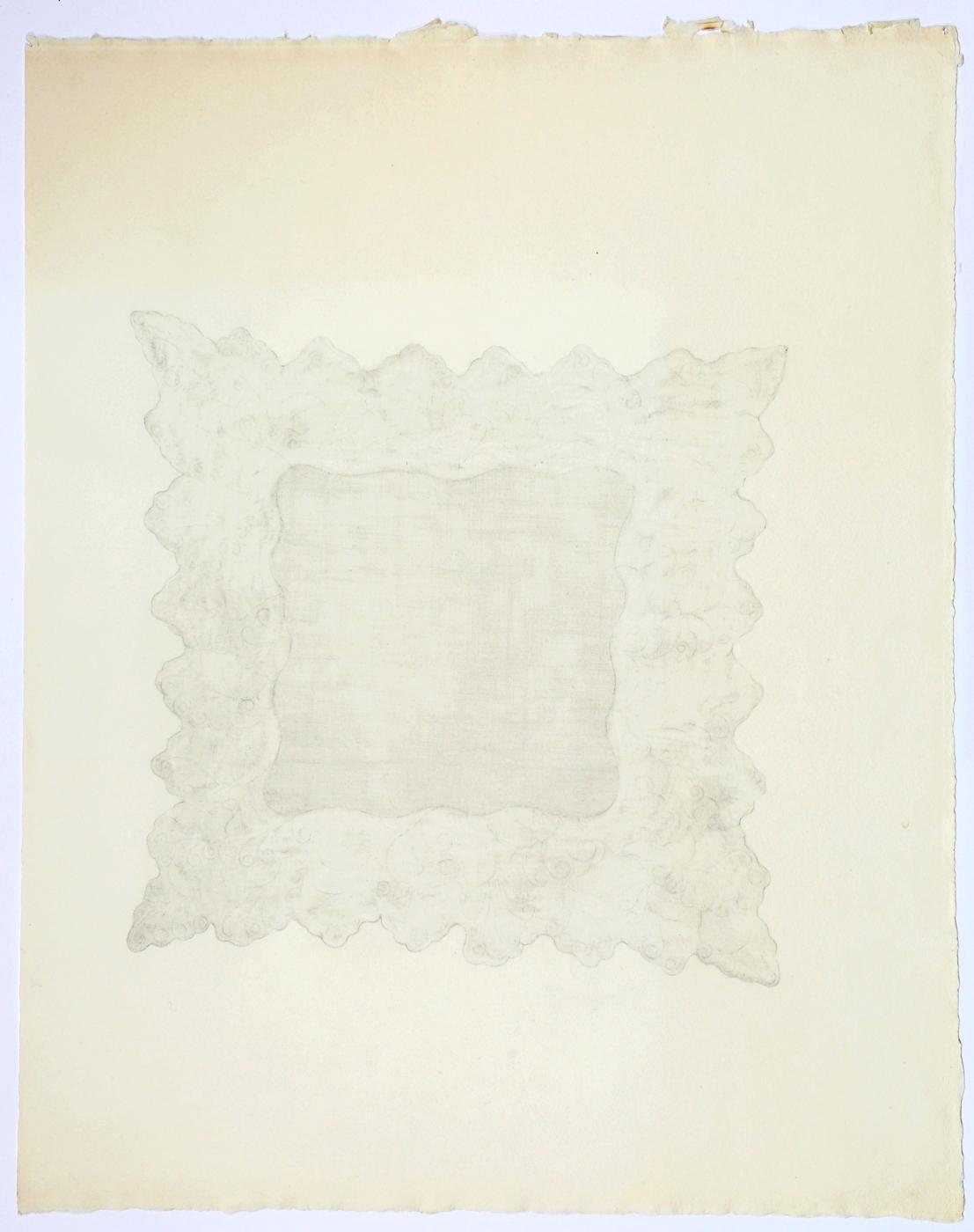 "Lace Handkerchief. 2015. Pencil on Paper. 26"" x 19"""
