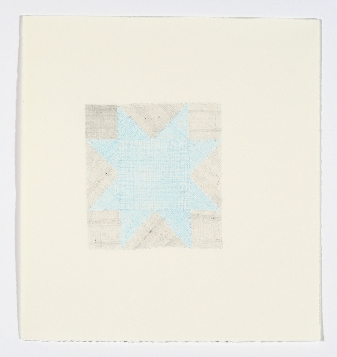 """Quilt Square No. 2. 2015. Pencil and Colored Pencil on Paper. 14"""" x 13"""""""