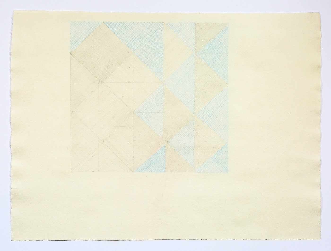 "Blue and Grey Quilt Square. 2015. Pencil and Colored Pencil. 11"" x 17"""