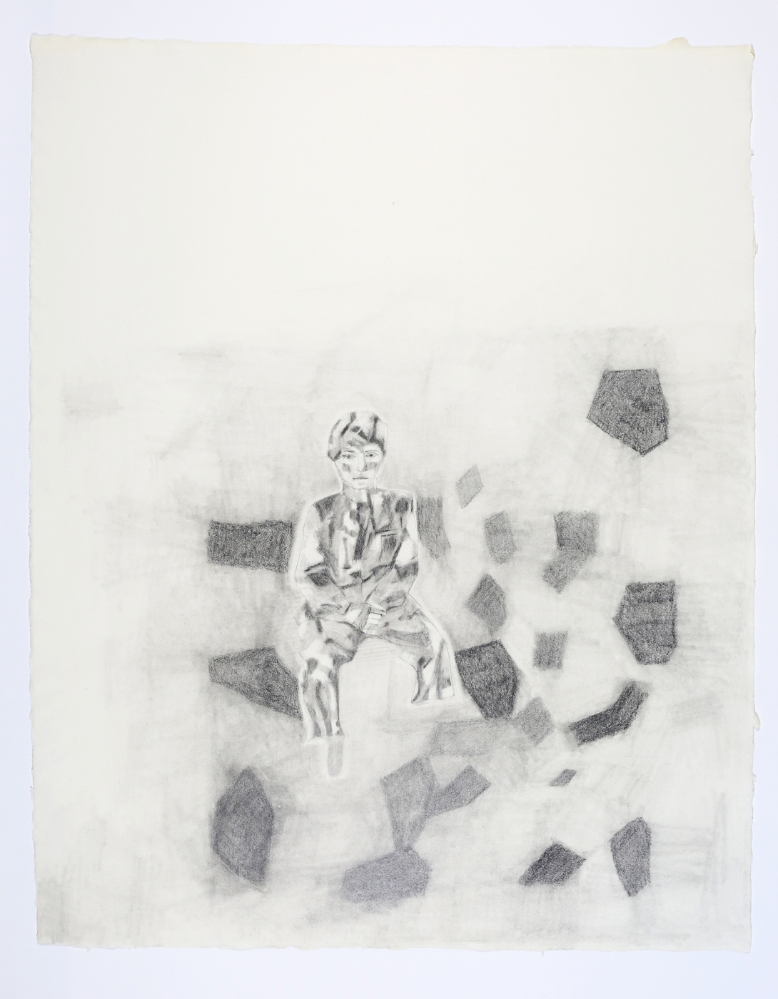 "Wounded Soldier. 2003. Pencil on Paper. 26"" x 21"""