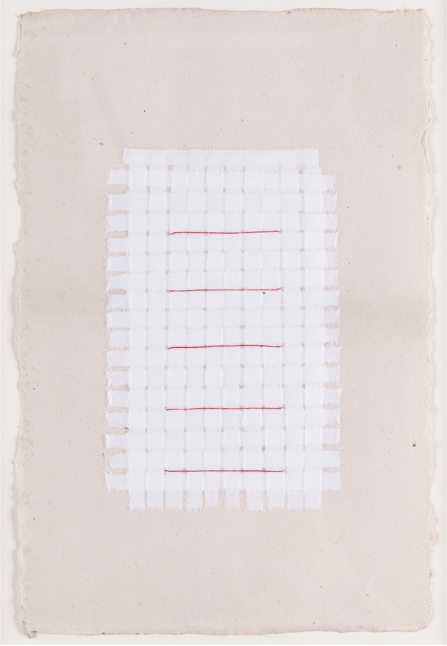 White Weaving with Red Thread