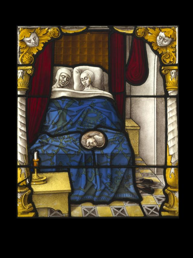 Stained glass window of Tobias and Sarah on their Wedding Night. c. 1520, © couresy of the Victoria and Albert Museum
