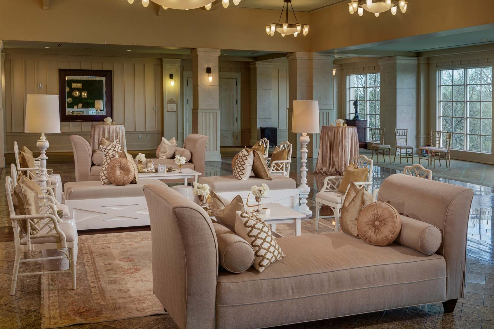 Country club wedding linen lounge