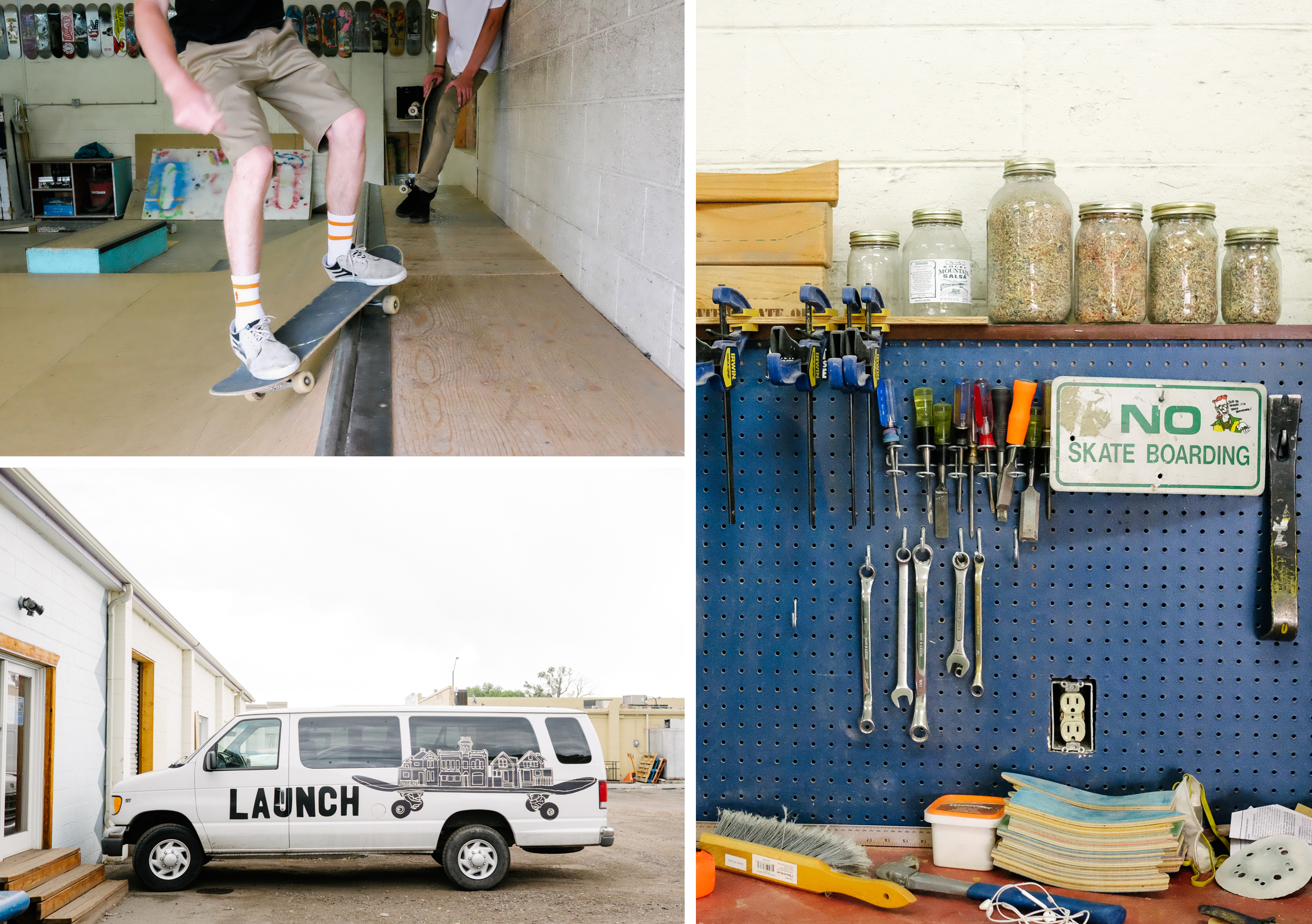 Teens show up to skate on a rainy Saturday. Launch's workbench and van.