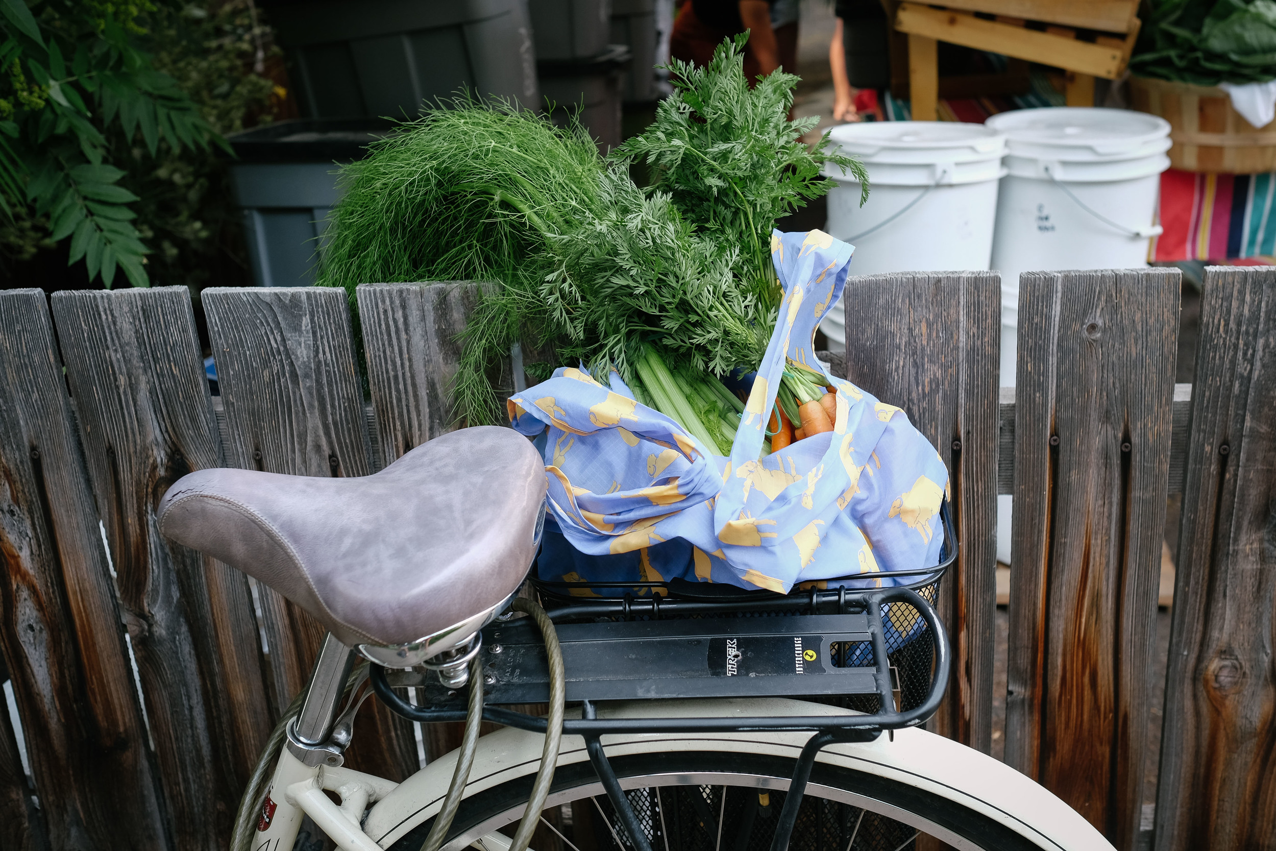 A bicycle with a bag of produce.