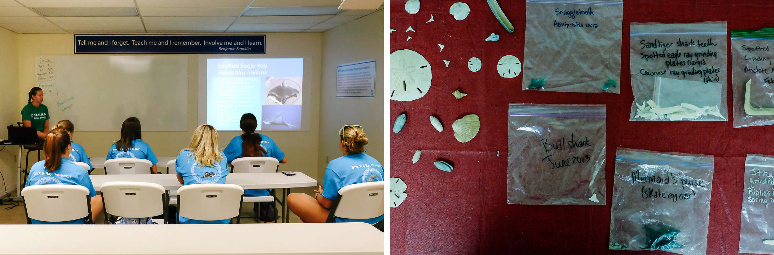 Days at Coastal Marine Education and Research Academy (CMERA) start in the classroom with lectures, group discussions, and slide shows.