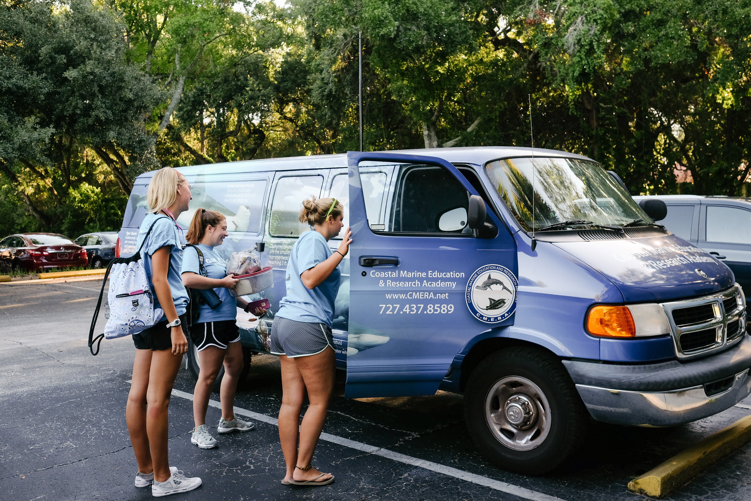 When their morning class is over, CMERA students pile into the van that will take them to the marina to start the second part of their day conducting shark and ray research.