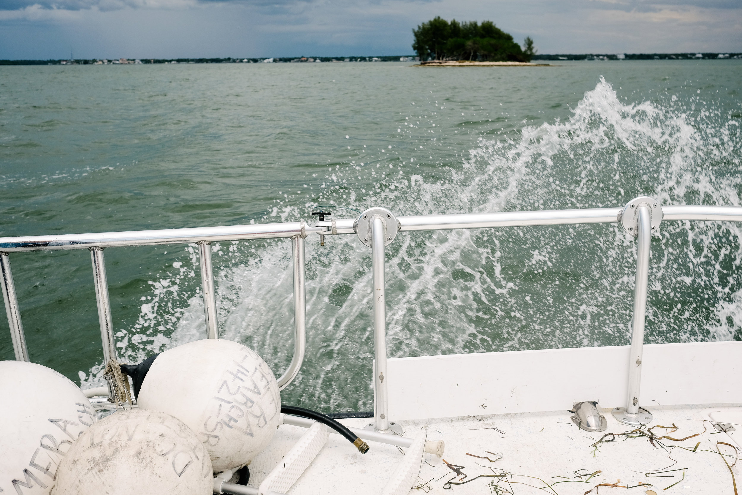 A CMERA boat heads out on a research mission near Dunedin, Florida.