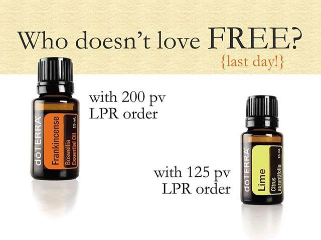 Last fatty to get your free Frankincense when you order 200pv or more! If you order through the Loyalty Rewards Program you'll get a free Lime as the Product of the Month too!  New to doterra? Start your account TODAY with a 200pv order and you'll get a free bottle of frankincense and $100 in oils.  Today only! Message me for details. #doterra #lrp #freefrankincense #productofthemonth #freeproducts