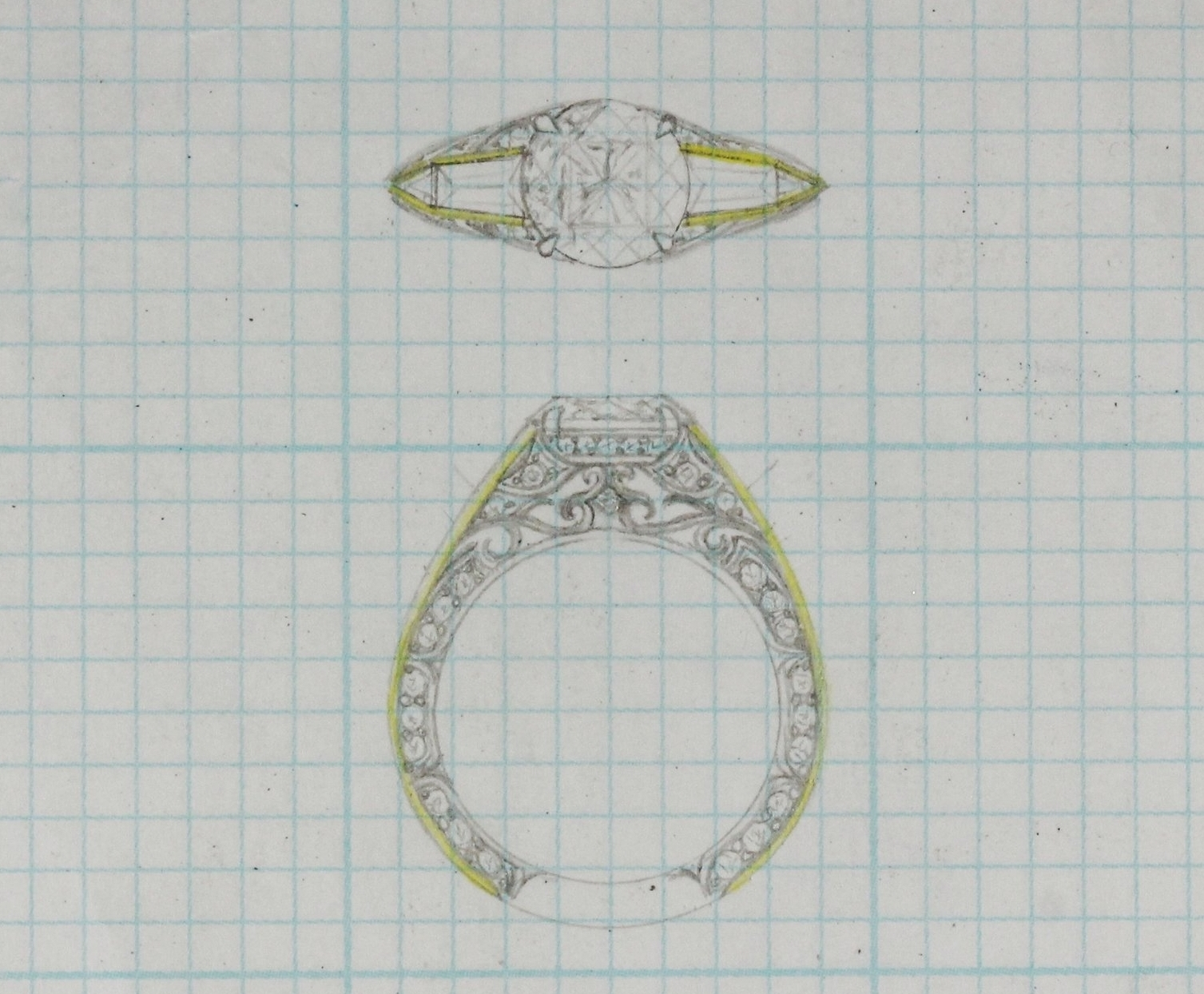 Design Process - This wedding set was hand fabricated in 14 karat white gold showcasing a strong modern-classic feel with her 2 carat round brilliant cut center and large tapered baguette diamonds. Each view creating a life of it's own, the top view is strong, modern-classic while the profile is deilicately detailed in filigree and diamonds. A variety of bands were designed and created to sit flush against the engagement ring giving the ability to change the look of her set as she desires.