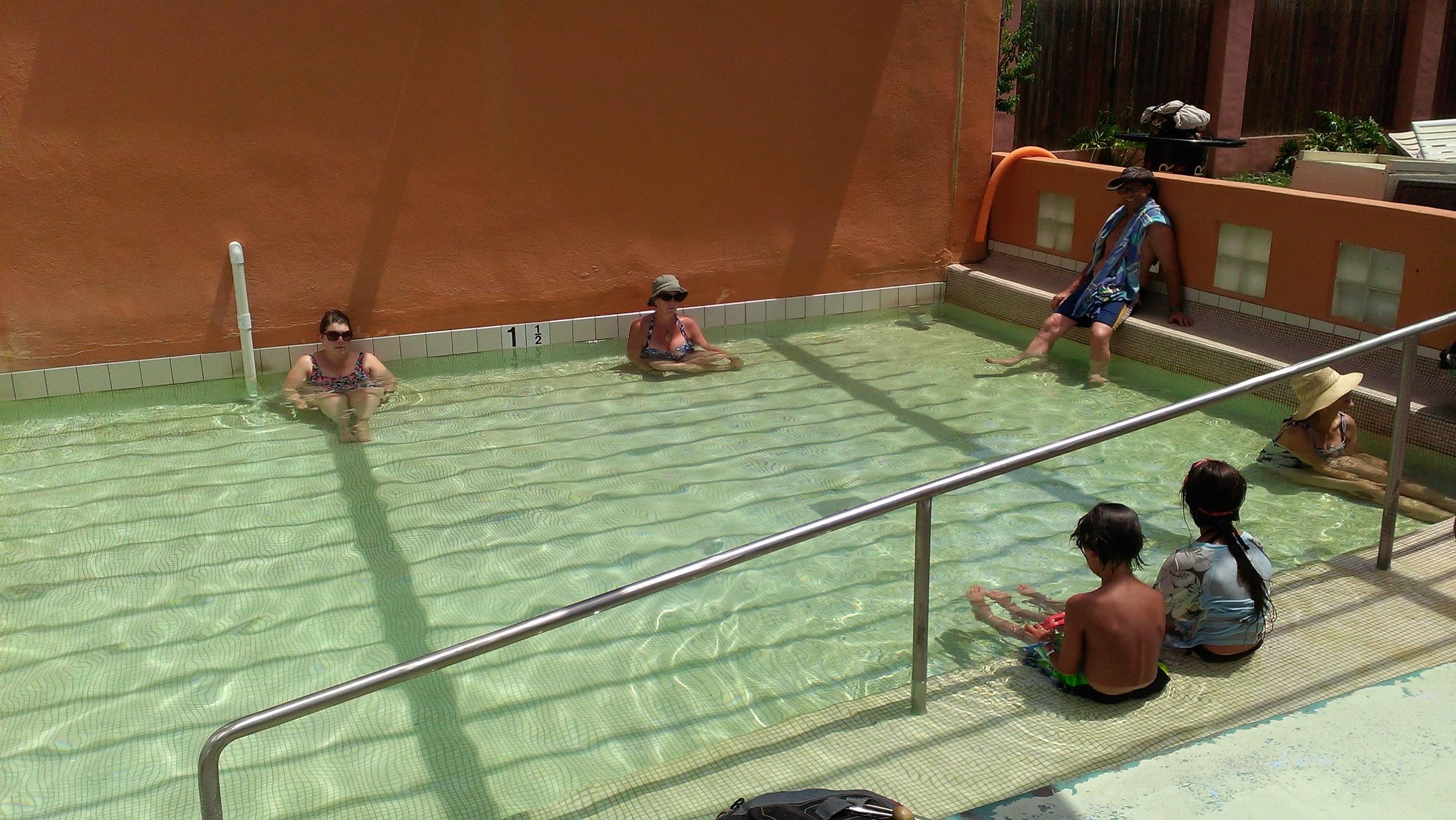 Hot tub guests soaking and enjoying day