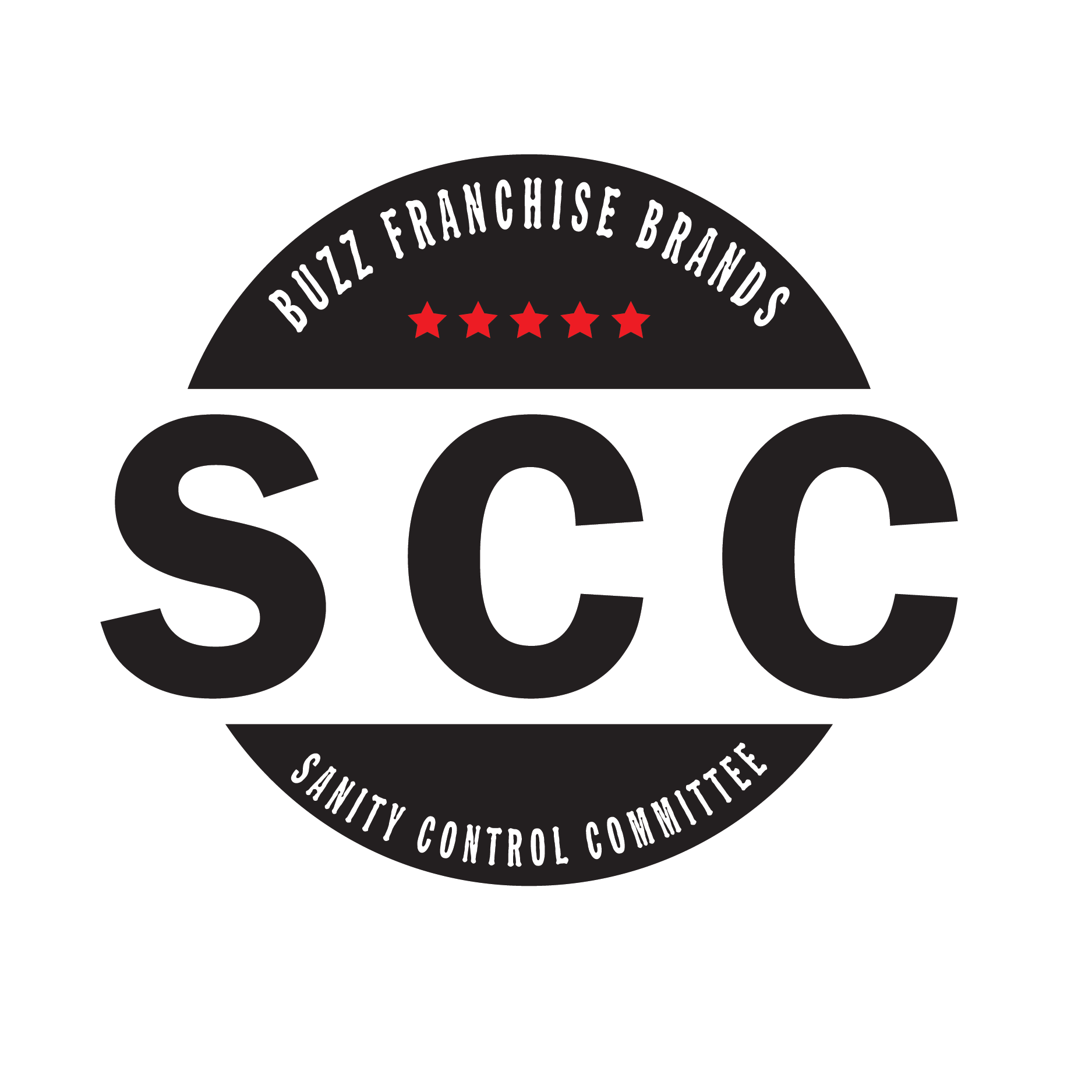 Sanity Control Committee Black and White logo with Red Stars