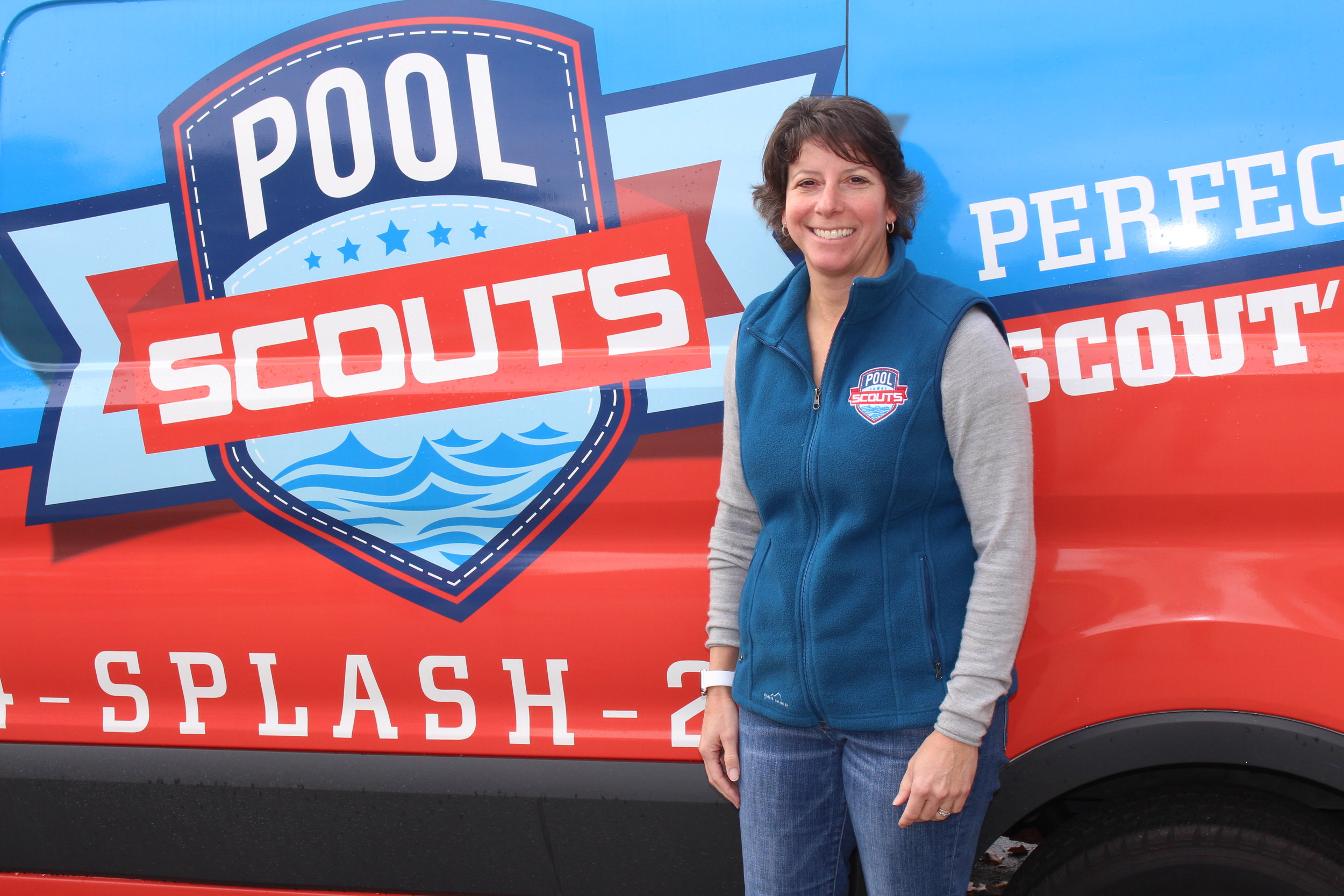 Tiffiny Consoli in front of Pool Scouts van.jpg