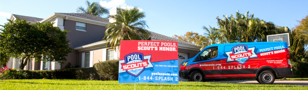 Pool Scouts sign in yard and Pool Scouts van parked in driveway