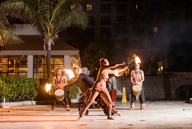 Fire Dancers at Pool Scouts Convention in Cancun, Mexico