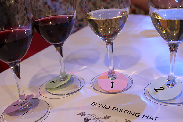 Wines lined up for a blind tasting