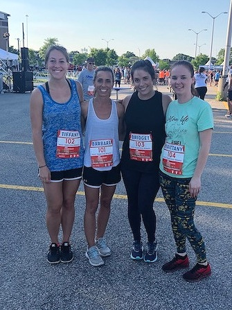 BFB Running Team, led by Tiffany Frazier, at ADP Corporate 5K in May 2019