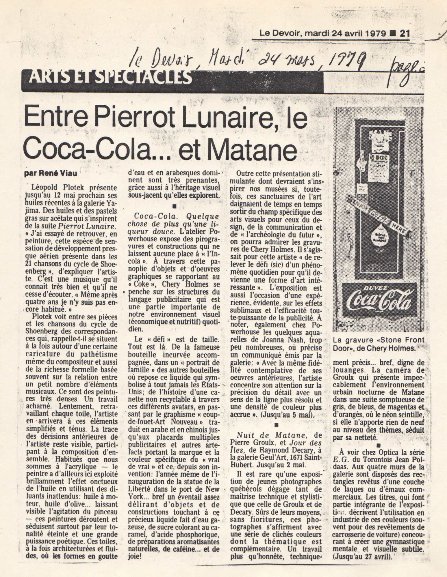Le Devoir mardi 24 avril, 1979