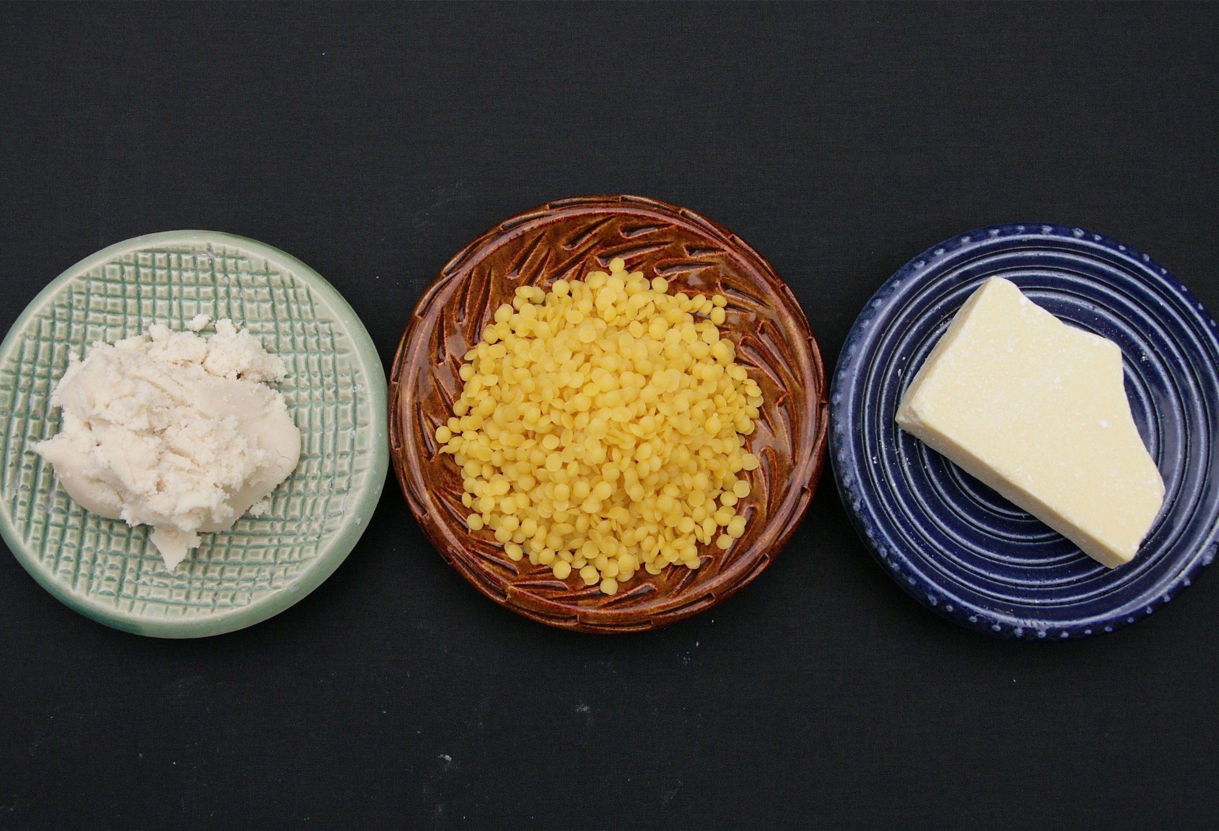 From Left: Shea Butter, Beeswax, Raw Cacao Butter. These, in addition to coconut oil and a few other common ingredients, form the base for all of the products you'll make through MVL.