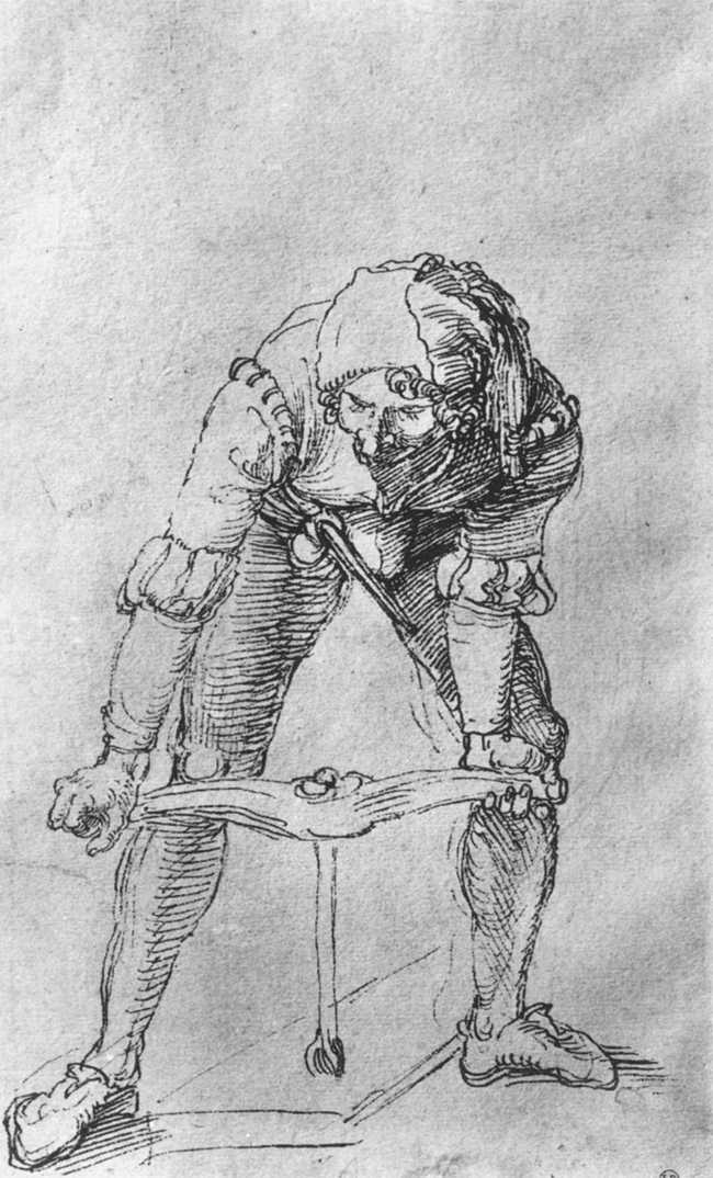 Albrecht Durer, Study of Man with Drill, 1496