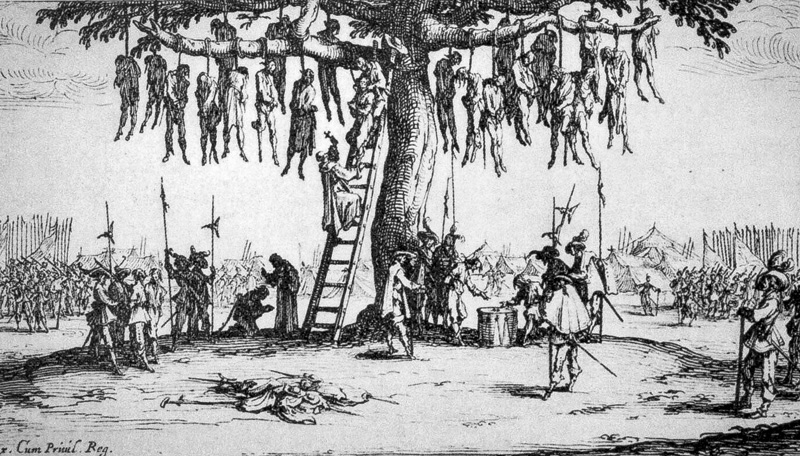 """Jacques Callot, The miseries of war; Nº 11 """"The Hanging"""", detail, 1632"""