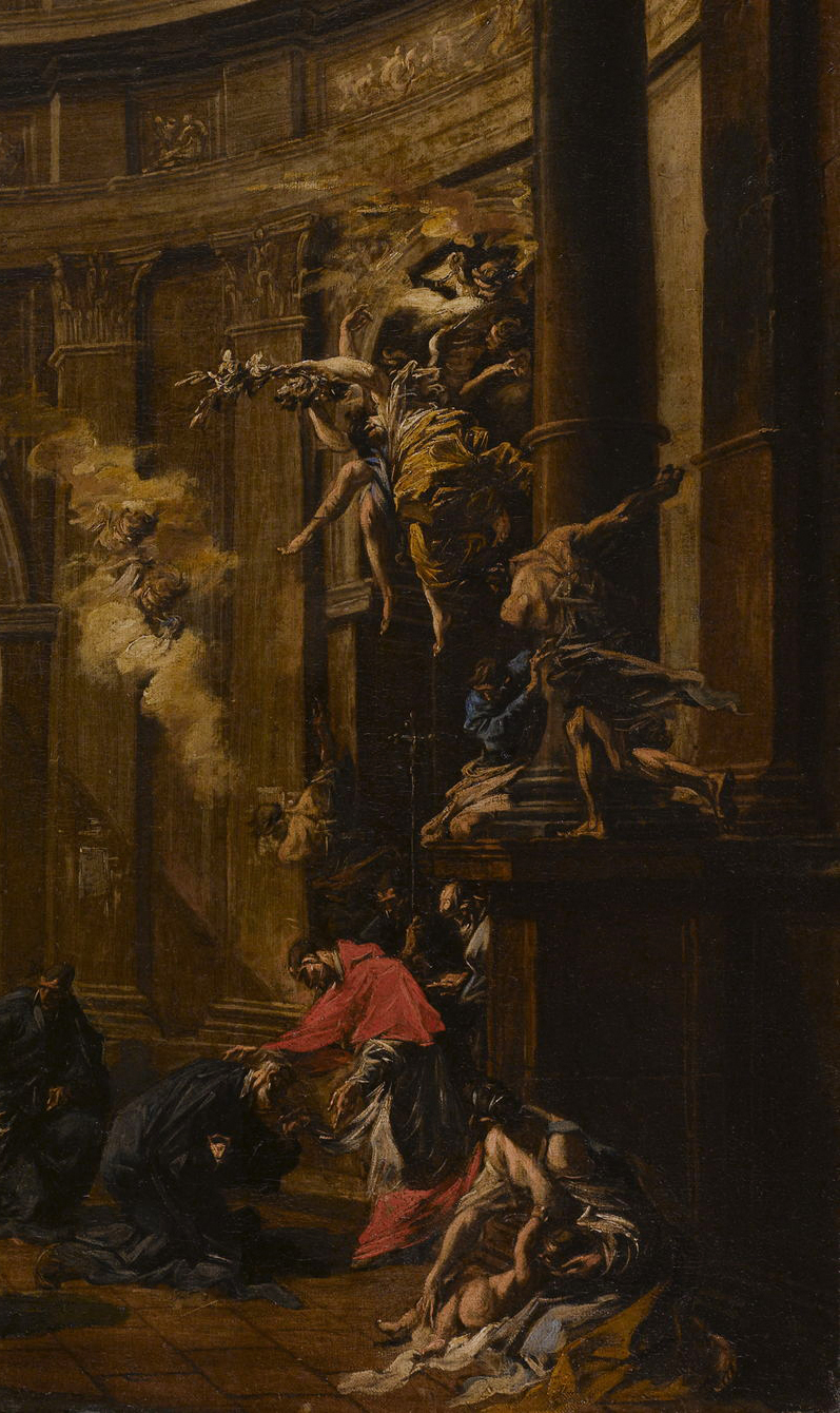 Alessandro Magnasco, Saint Carlo Borromeo Receiving the Oblates, Detail   Placements:  HEAD, NECK, CHEST, ABS & THIGH | HEAD, NECK, BACK, GLUTES & THIGH |