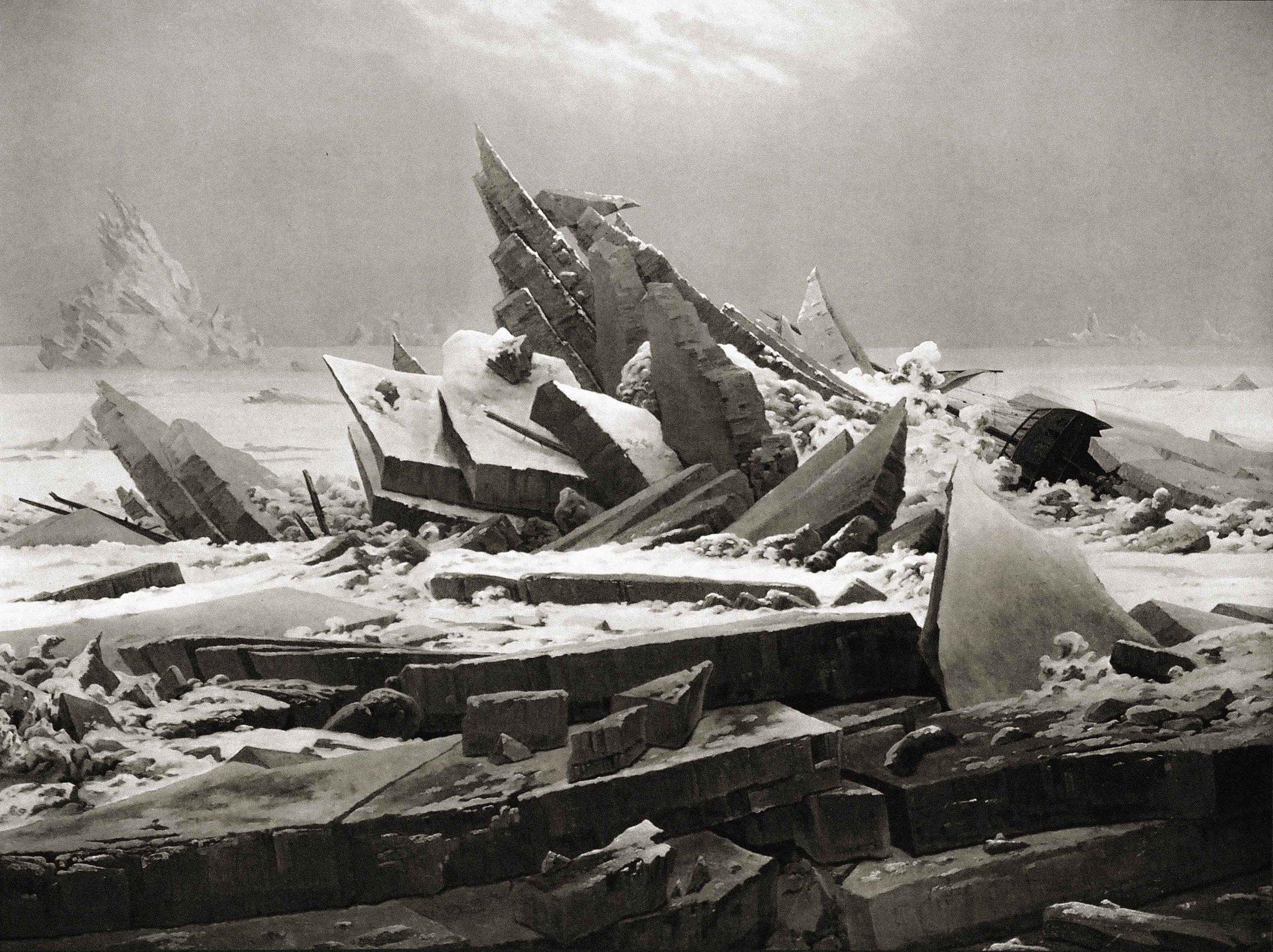 Caspar David Friedrich, The Sea of Ice aka Polar Sea, digitally manipulated,1823/1824   Placement : XXX