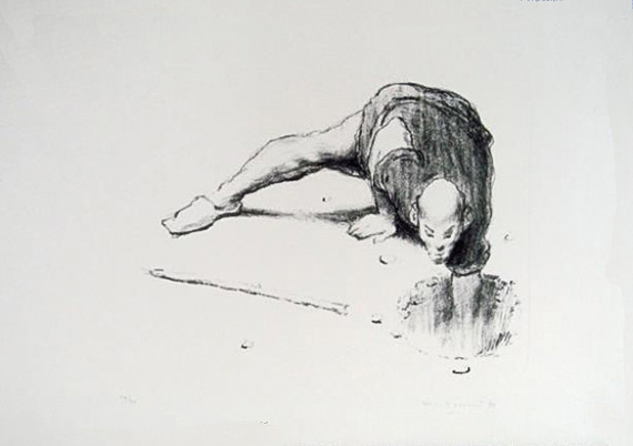 Wainer Vaccari, Lithograph on handmade paper, 1992   Placements: BACK | CHEST & ABS | 1 ARM, CHEST, ABD & NECK | HEAD & NECK | HEAD & BACK | THIGH & ABS | THIGH | BACK, 1 ARM & NECK | ARM |