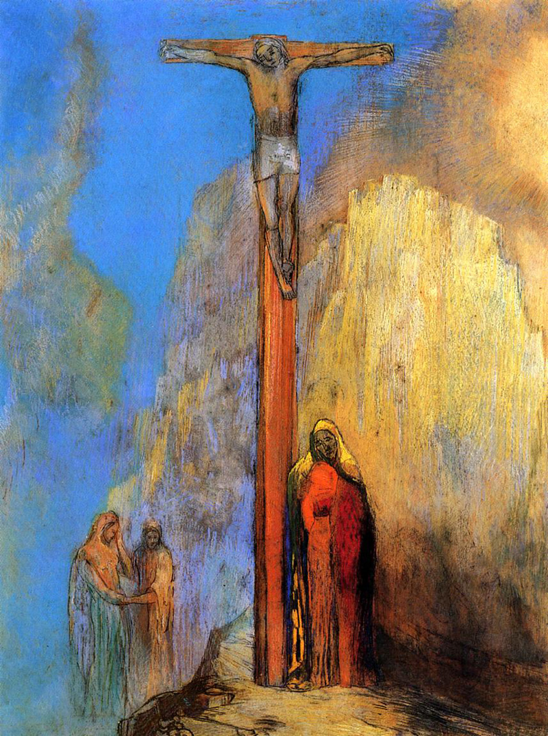 Odilon Redon, Calvary, 1897.   PLACEMENTS:  BACK | CHEST & ABS | CHEST, ABS & THIGHS |