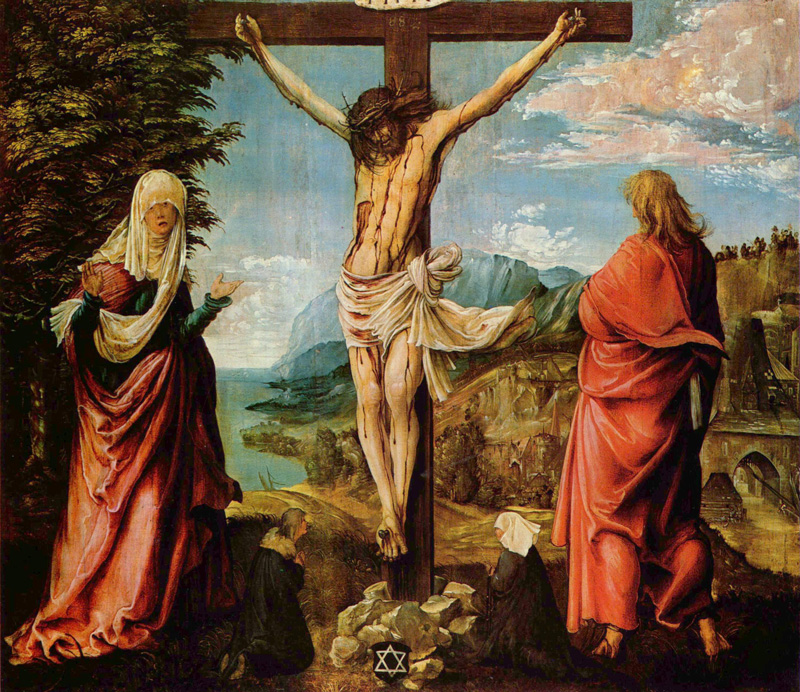 Albrecht Altdorfer, Crucifixion Scene, Christ On The Cross With Mary And John,1515/1516.   PLACEMENTS:  BACK | CHEST & ABS | HEAD | HEAD & NECK | BACK & NECK | ABS & THIGHS | 1 CHEST, SHOULDER & ABS | HAND & ARM |  BODYSUITE |