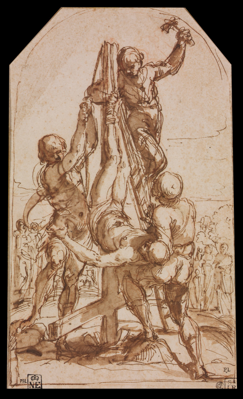 Guido Reni, Sketch of Crucifixion of Saint Peter, 1604.   PLACEMENTS:  ABS & THIGHS | HAND & ARM |