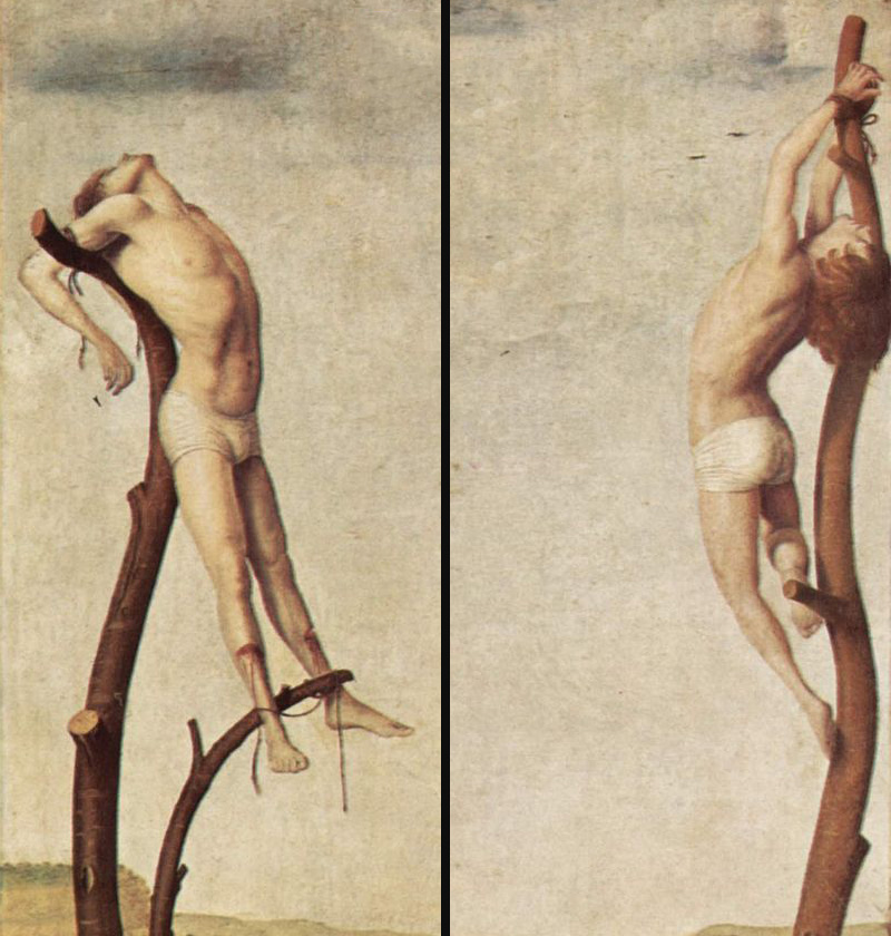 Antonello da Messina, Crucificação, 1475?, detalhe 1 + detalhe 2 .   PLACEMENTS:  BACK | CHEST & ABS | CHEST, ABS & LEGS | 1 ARM, CHEST, NECK & ABS | BACK & NECK | ARMS, CHEST & NECK | 1 ARM, CHEST & NECK | THIGHS | BACK & ARMS | 1 ARM, BACK & HEAD | ARMS |